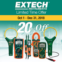 Get 20% off when you buy select Extech Temperature & Humidity meters between Oct 1 and December 30, 2018.