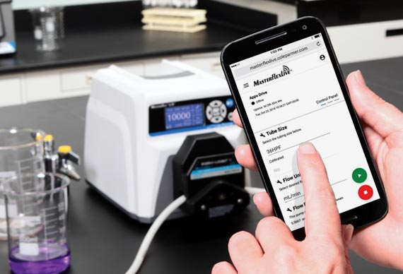 Real-time peristaltic pump control and monitoring with MasterflexLive